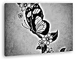 Zeichnung eines wunderschönen Schmetterling Effekt: Schwarz/Weiß Format: 60x40 als Leinwandbild, Motiv fertig gerahmt auf Echtholzrahmen, Hochwertiger Digitaldruck mit Rahmen, Kein Poster oder Plakat