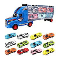 Tractor Trailer Vehicles Transport Toy Truck Collection Case with 12pcs Alloy Racing Car Accessories for Kids Boys