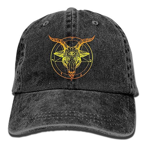 Hipiyoled Baphomet. Satanic Goat Head with Third Eye Vintage Washed Dyed Cotton Twill Low Profile Adjustable Baseball Cap Black ABCDE01512 (Baphomet Kostüm)