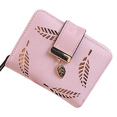 Hrph Neue Art und Weise weibliche Portemonnaie kurzer Punkt Hohle Goldblatt Kleine Geldbeutel Große Kapazität Wallets (Kurze Pink Jungen Damen)