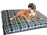 KosiPet® Large Deluxe High Density Foam Mattress Waterproof Dog Bed Beds Green Check Fleece