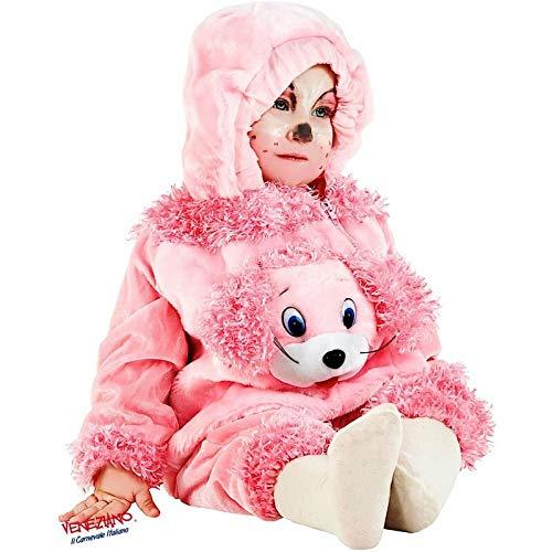 Baby Faschingskostüm 88073 rosa ab 6 Monate, Pudel-Kostüm Kapuze, Reißverschluss