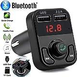 Adaptateur Bluetooth Kit mains libres Bluetooth sans fil avec émetteur FM à charge...