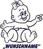 INDIGOS UG - Babystrampler / Strampler 042 mit Wunschname / Wunschtext schwarz 86/92