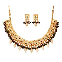 """Touchstone""""Mughal Jali collection"""" Indian Bollywood white Rhinestone faux red green pretty traditional floral cutwork bridal designer jewelry necklace set in gold tone for women"""