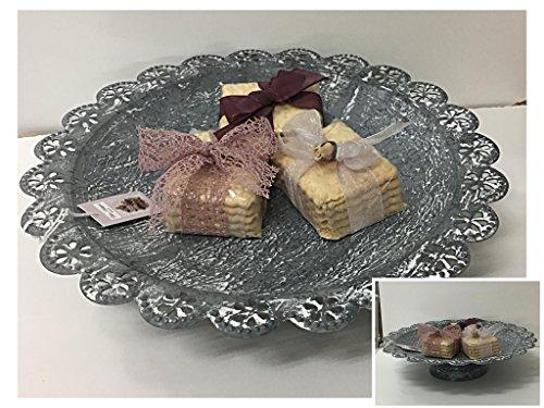 Présentoir porte fruits porte Dolci cm 26,5 x 26,5 x 6,2 métal gris blanchi Assiette décorative