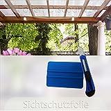 (EUR 5,58 / Quadratmeter) Fensterfolie 120x100 cm als Sichtschutz | Klebefolie inklusive Installationshilfe dazu (1 Stück Cutter + 1 Stück Rakel )F-D24