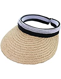 gaeruite Sombrero de Paja Plegable para Playa, Abierto, para niñas, Mujeres, Ajustable, Ancho, con Pajita Enrollable, Visera para el Sol, A, as Show
