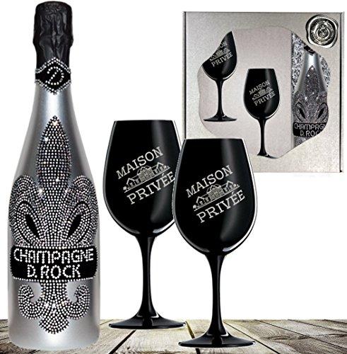D. Rock Luxus-Champagner Geschenkset - inkl. 2 schwarzer Champagnergläsern mit silbernem Emblem & gesiegelter Vintage-Holzkiste. Das Luxus Geschenk für Männer und Frauen