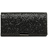 CASPAR TA342 Damen kleine elegante Glitzer Clutch Tasche Abendtasche, Farbe:schwarz;Größe:One Size