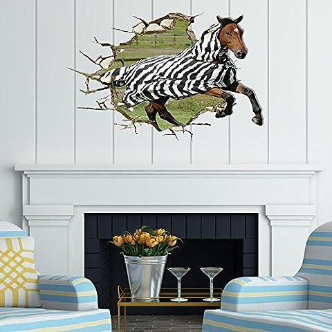 LLYY-Papel pintado pared estéreo 3D creativo pegatinas mural del fondo del hotel habitaciones sala de estar TV sofá baño perspectiva HD adhesivos pared stickers verde pigmento #002 , Horse
