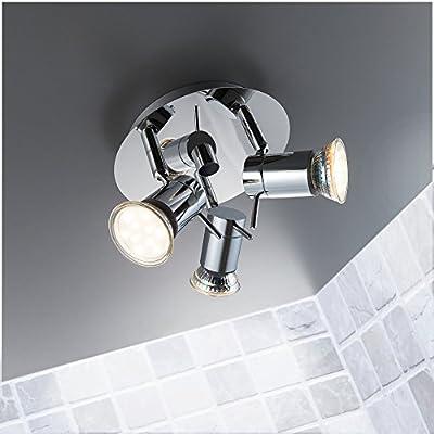 LED Bad Deckenleuchte Deckenlampe schwenkbar spritzwasser geschützt IP44 Badlampe Badezimmer Leuchte Deckenstrahler Spotleuchte GU10 3 x 3W 250lm warmweiß chrom von B.K.Licht