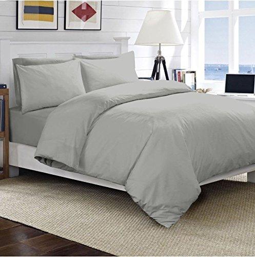Luxus-Hotel-Qualität, TC300,100% gekämmte, ägyptische Baumwolle - Satin-Bettbezug-Set, Bettwäsche-Set mit Kissenbezug und Bettdeckenbezug für Doppelbett (King-Size und Super-King-Size), grau, Doppelbett