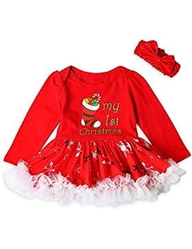 Huhu833 Weihnachten Outfits Baby Mädchen Kleinkind Baby Prinzessin Kleid +Stirnband Weihnachten Outfits Kleidung