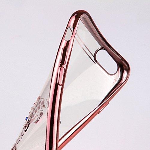 6S iPhone-Custodia per iPhone 6, motivo: delfini MASUMARK, motivo floreale con strass, colore: trasparente, in gomma, motivo: diamanti, colore: oro placcato Electroplate cornice paraurti in Silicone T Dolphins 5.5 - Rose Gold