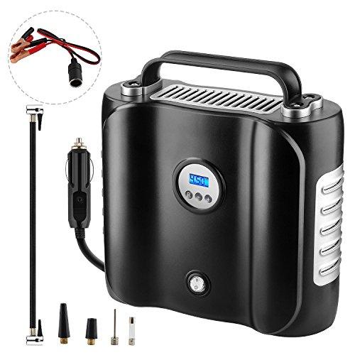 Luftkompressor, NOCKNOCK AK-01 Auto Kompressor,180W 12V tragbare digitaler Auto-Luftpumpe mit hoher Pumpleistung 45L/ min, LED Lampe, inkl. 3 Adapter; Sicherung; Transporttasche