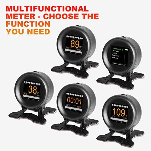 Dispositivo auto Autool X60digitale, OBD, GPS, HUD, multi-funzione con misuratore, allarme, velocità, temperatura dell'acqua, test di malfunzionamenti, per OBD-II da 12V, display per veicoli standard