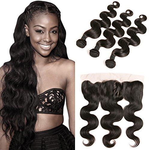Body Wave Lace Frontal Closure Ear to Ear Brazilian Hair 3 Bundles 13x4 Free Part Virgin Hair Bundles Natural Brown 20 22 24 +18 Inch