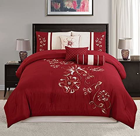 Chezmoi Collection 7-piece Red Floral Hibiscus Embroidery Beige Comforter Bedding Set (California King)