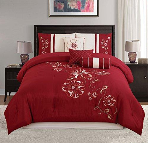 chezmoi Kollektion 7-teilig rot Blumen Hibiskus Stickerei beige Tröster Betten Set (König)