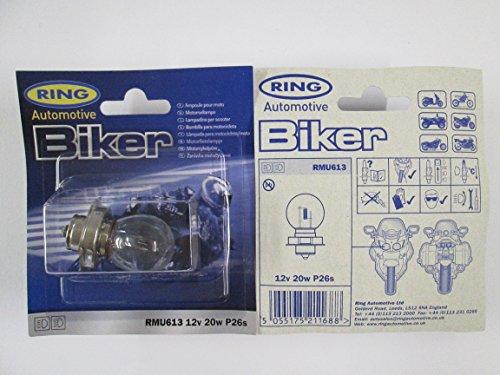 12V 20W P26s Motorrad/Scooter Scheinwerferlampe–Ring RMU613Scheinwerferbirne