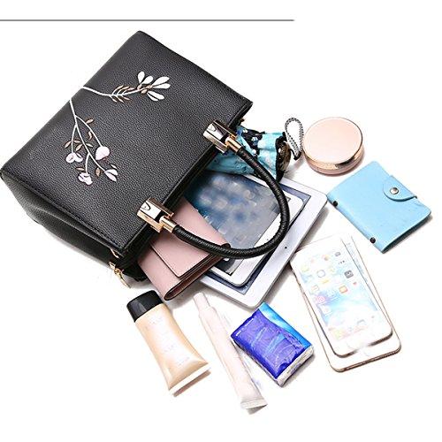 WU ZHI Damen Umhängetasche Messenger Bag Retro Stickerei Handtasche Reife Black