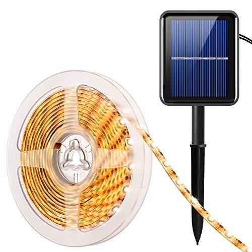 AMIR Solar LED Streifen, 90 LED Led Strip 3m, IP65 Wasserdicht Outdoor Solar Lichterkette, 8 Modi, Automatisch EIN/AUS, LED Stripes für Feier Hochzeit Schaukasten Garten Haus etc (Warmweiß)