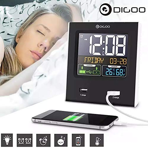 Destock Digoo DG-C3X - Orologio con Calendario e 2 Porte USB LED, retroilluminazione, Temperatura, umidità, Stazione Meteo 12/24 Ore