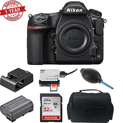 Nikon D850 Digital SLR Camera (Body Only) w/Sandisk 32GB MC | DSLR Case | Dust Blower & Card Reader Bundle