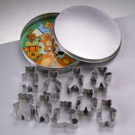 Emporte-pièces en inox, 9 Oursons, taille de 4,5 cm