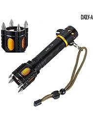HTKJ T6 CREE LED Taschenlampe, LED Camping Handlampe mit Alarm, wasserdicht und tragbar