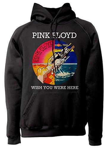 LaMAGLIERIA Sudadera Unisex Pink Floyd Wish You were Here - Sudadera con Capucha Classic Rock Band, L, Nero