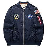 qingning Bomberjacke NASA Winterjacke Übergröße Jacke Übergangsjacke Freizeitjacke Fliegerjacke Geburtstag Geschenk (Blau, Medium)