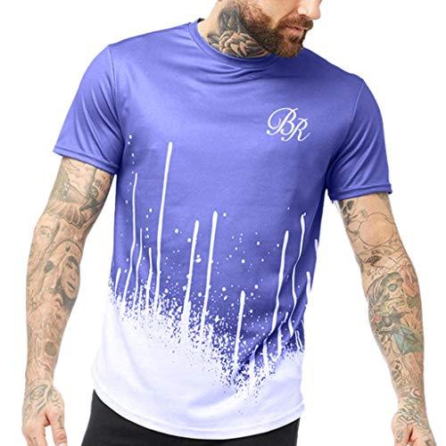 Eaylis Herren T-Shirts Kurzarm Sommer Sport-Fitness-Oberteil Mit Farbverlauf Und Buchstabenprint Und Kurzen ÄRmeln -