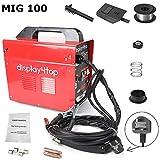 Saldatrice a filo continuo MIG, saldatrice a filo continuo, attrezzatura professionale per saldatura, senza accessori per gas, standard britannico, rosso (MIG 100)