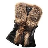 Saoye Fashion Fellweste Damen Herbst Winter Lederweste Vintage Lässige Gemütlich Weste Kleidung Ärmellos Knopfleiste Synthetisch Pelz Jacke Outerwear (Color : Braun, Size : M)