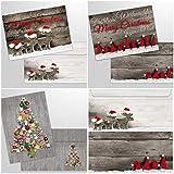 15 Weihnachtskarten mit Umschlag - 3 verschiedene Motive x 5 Stück = 15 nostalgische Klappkarten für Weihnachten im Set mit passenden Umschlägen