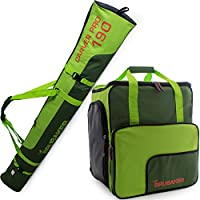 BRUBAKER Conjunto 'Super Function 2.0' Bolsa para botas y Casco de ski junto a 'Carver Pro 2.0' Bolsa para un par de Ski - Verde oscuro / Verde - 170 cms.