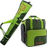 BRUBAKER Borsa porta scarponi 'Super Function 2.0' con scomparto casco et sacca da sci 'Carver Pro 2.0' colore verde oliva / verde chiaro 190 cm