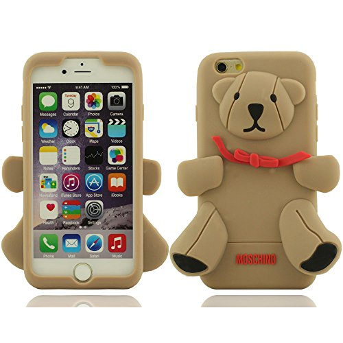 iPhone 6 plus Hülle, iPhone 6 plus case,Creative Design Teddy Bear Shaped weichen Silikon-Schutzhülle für Apple iPhone 6 plus Hülle 5.5 inch (Grau) Grau
