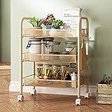 Haoli-sj 3-stufiger Küchenwagen mit Drahtkörben und Griffen | Wagen mit Feststellrädern 3 Drahtkörbe für Kochgeschirr oder Speisekammerlagerung | Waschküche | Kleidung | Bad (Farbe : Gold)