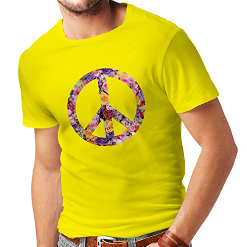 Männer T-Shirt Friedenssymbol, 60er, 70er Jahre, Hippie, Friedenszeichen Blume, Sommer, Retro, Swag (Medium Gelb Mehrfarben)