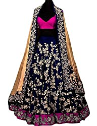 Shree Impex Womans Embroidered Taffeta Silk Navy Blue Color Semi-stitched Lahenga Choli with Dupatta (Navy_Blue_Semi stitched_Lehenga Choli)