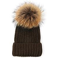 HMILYDYK Adulto Invierno cálido Sombrero de Beanie Fashion Piel sintética  de Grosor Bola Pom Pom Gorro 3f6392afa85
