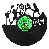 Tennis Geschenkidee Vinyl Schallplatten- Uhr, Schwarz, Vinyluse original