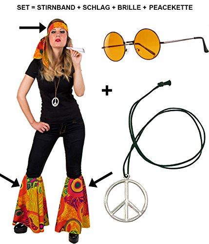 Jeans Mit Womens Kostüm - Panelize® Hippieset bestehend aus Stirnband 2X Schlag Brille und Peacekette Sparpaket