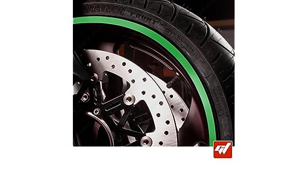 Kawasaki,Yamaha,Honda,Suzuki,Ducati, KTM et Toutes Les Autres Vert Liseret Autocollant Compatible avec Les Jantes de Ces Marque GT-Stickers KIT Liserets de Jante Moto