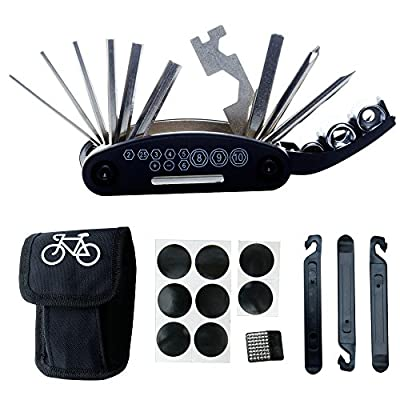 Bike Bicycle Repair Tool Kit - DAWAY B32 Cycling Multifunctional Mechanic Fix Tools Set Bag, 16 in 1 Multifunction Tool, Tire Levers, Self Adhesive Tyre Tube Patch Included, 6 Month Warranty by DAWAY