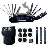 Multitool Fahrrad Reparatur Set - DAWAY B32 Fahrrad Werkzeug Reparaturset, 16 in 1 Multifunktionswerkzeug, Reifenheber, Selbstklebendes Fahrradflicken Inbegriffen, 6 Monate Garantie