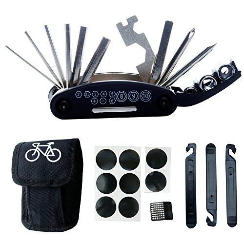 fahrradschlauch kleber DAWAY Multitool Fahrrad Reparatur Set - B32 Fahrrad Werkzeug Reparaturset, 16 in 1 Multifunktionswerkzeug, Reifenheber, Selbstklebendes Fahrradflicken Inbegriffen, 6 Monate Garantie
